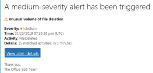 O365 Phising Scam Example Message
